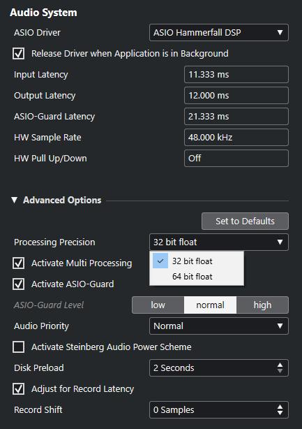 Cubase audio processing 32 ou 64 bits float