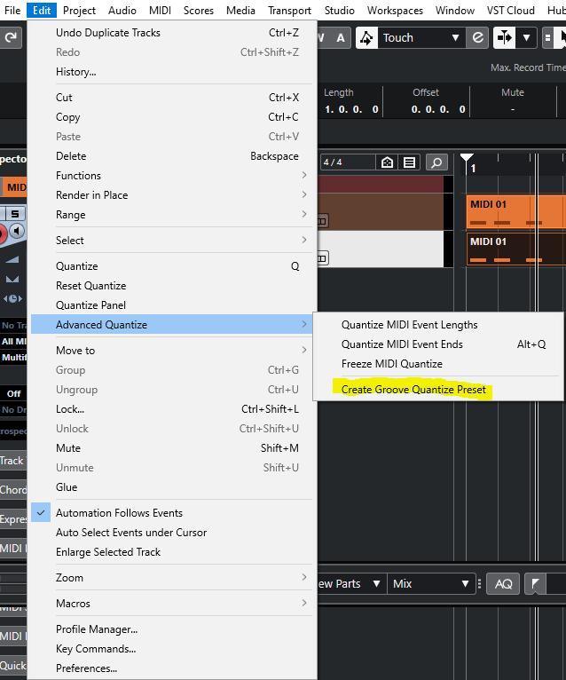 Create Groove quantize preset Cubase Nuendo