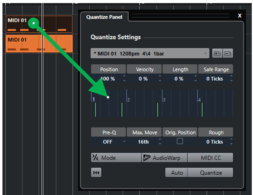 Quantize : part to groove Cubase Nuendo
