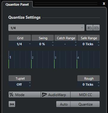 Quantize panel Cubase Nuendo Steinberg