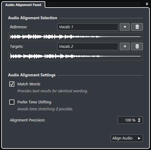 Audio alignement panel Cubase Nuendo Steinberg