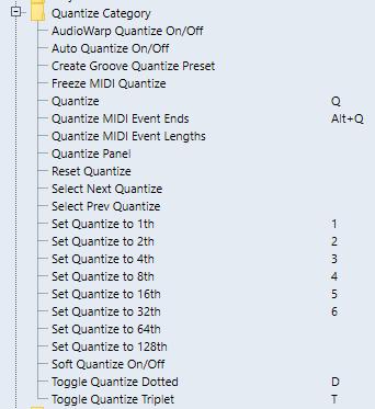 Quantize Key commands pour le travail 4