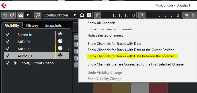 afficher les tranches qui contiennent des données entre les locators