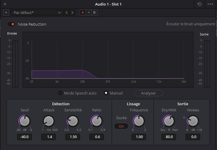 DaVinciResolve Fairlight Noise Reduction
